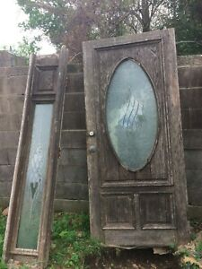 Vintage Entry Door With 2 Side Lights Etched Glass Hardware Salvage