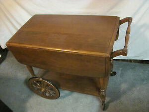 Wooden Dual Drop Leaf Single Drawer Large Wheeled Tea Cart By Temple Stuart
