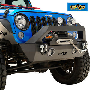 07 18 Jeep Wrangler Jk Stubby Front Bumper Heavy Duty Offroad With Led Lights