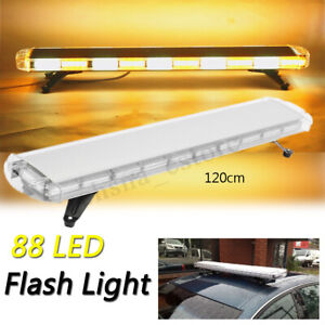 88led 47 Strobe Light Bar Amber White Emergency Beacon Warn Tow Truck Response