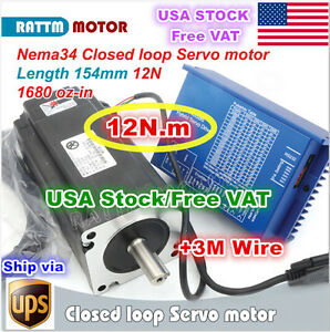 usa rus nema34 154mm 12n m Closed Loop Servo Motor hss86 Hybrid Cnc Driver Kit