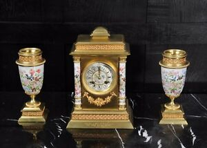 Porcelain And Ormolu Classical Clock Set English Garden Antique French