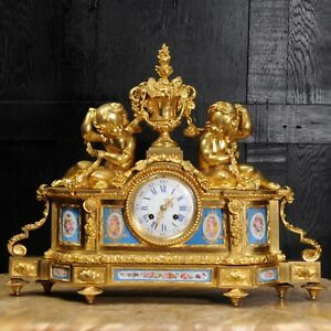 Large Antique French Ormolu And Sevres Porcelain Clock Cherubs Stunning 1850