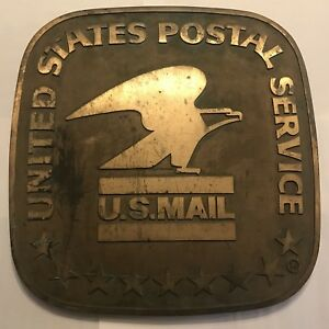 Rare Vintage 24 X 24 Cast Metal Usps Us Post Office Sign 1970s Standing Eagle