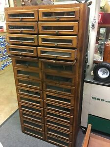 Antique Wood 26 Drawer Glass Front Apothecary General Store Seed Candy Cabinet