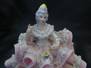 Dresden Porcelain Lace Lady Figurine Made In Germany