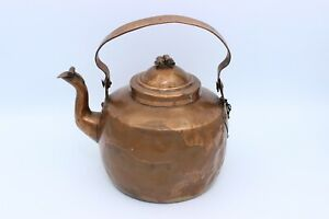 Antique American Copper Tea Kettle Circa 1775 Folding Goose Neck Spout