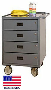 Cabinet Cart Bench Commercial Locking Drawers Worktop 34h X 24w X 20d