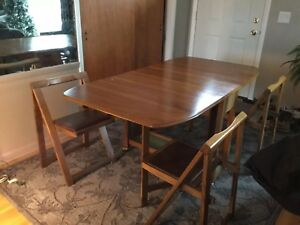 Mid Century Modern Drop Leaf Dining Table W Folding Chairs Greyhound Ship