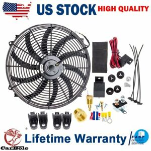 16 16inch Electric Radiator Cooling Fans 3 8 Inch Thermostat Fan Switch Kit Us