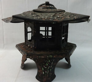 Antique Sheet Iron Tin Pagoda Shaped Garden Lantern Inlaid W Mother Of Pearl