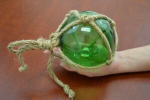 Reproduction Green Glass Float Ball With Fishing Net 5 F 950