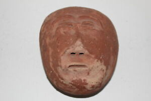 Antique Indigenous Red Clay Head Eskimo Inuit