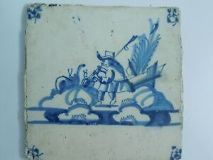 Antique Dutch Delft Hand Painted Tile Woman Playing Instrument