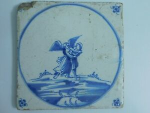 Antique Dutch Delft Hand Painted Tile Angel Scuffling With Man