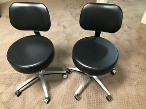 Pneumatic Medical Exam Stool With Backrest Two Units