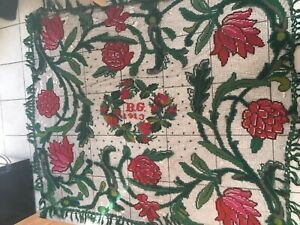 1913 Hand Knit Antique Vtg Crochet Blanket Late Early 1900s Bedspread Floral