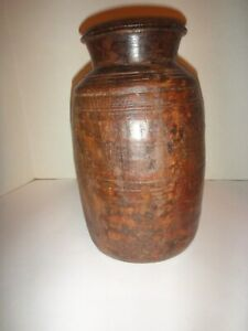 Antique 18th Century Carved Treen Jar Early American Primitive Treen Ware