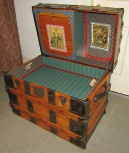 Antique Steamer Trunk Vintage Victorian Dome Top Wedding Brides Chest Tray