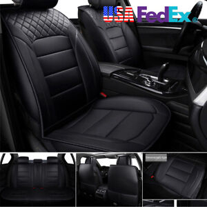 Full Surrounded 5 Seat Car Seat Cover Thicken Durable Pu Leather Us Shipment