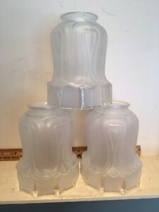 3 Antique Arts Crafts Mission Style 5 Frosted Glass Lamp Light Shades