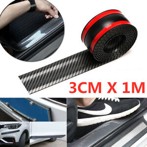 Car Sticker Carbon Fiber Rubber Diy Door Sill Protector Edge Guard Strip 10cm 1m