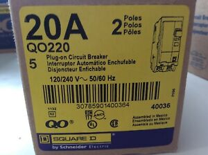 5 Pack Square D Q0220 Plug on 20a Circuit Breaker 2 Pole