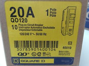 10 Pack Square D Qo120 20a Plug on Circuit Breaker 1 Pole
