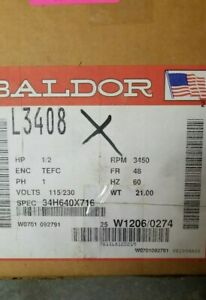 L3408 1 2hp 115 230v 3450rpm New Baldor Electric Motor