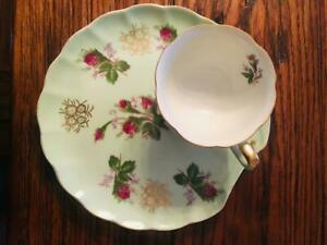 Wild Roses Antique Tea Cup Saucer Pristine Condition Free Shipping