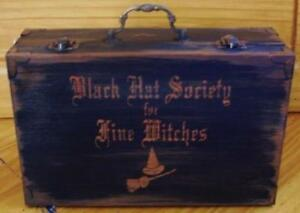 Primitve Witch Purse Black Hat Society Witchcraft Witches Halloween Box Cats Art
