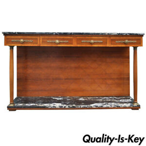 Marble Rosewood Cherry French Empire Style Server Sideboard Buffet By Bethlehem