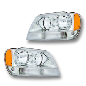 Fits 1999 2004 Jeep Grand Cherokee Limited Overland Headlight Assembly 1 Pair