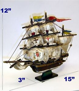 Vintage Boat Handcrafted Shelf Model Spanish Frigate Wooden Ship