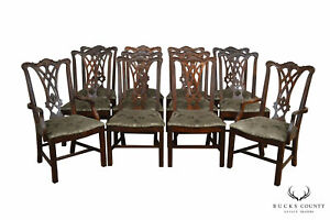 Thomasville Chippendale Style Set 12 Solid Mahogany Dining Chairs