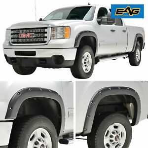 Eag Fender Flares 4pcs Pocket Style Textured Truck For 07 14 Gmc Sierra 2500