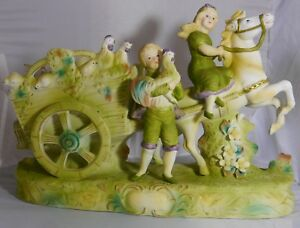 Bisque French Cart Ride Signed Colbert Girl And Boy With Their Cart And Animals