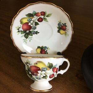 Vintage Rosina Footed Tea Cup Saucer Bone China Gilding Fruit Made In England