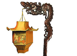 Chinese Dragon Lamp Wood Floor Antique Carved Custom Pagoda Shade 1920s Rare