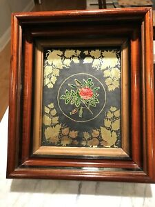 Antique Victorian Eastlake Shadow Box Step Frame With Foil Art Picture
