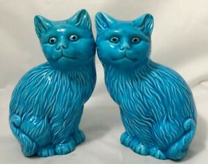 6 5 Tall Chinese Turquoise Blue Porcelain Cats Figurine Lion Statue Foo Dog