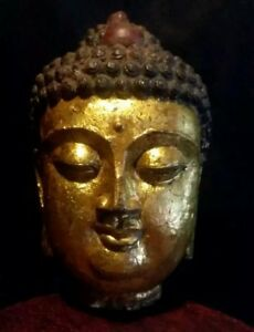 Antique Chinese Japanese Bronze Buddha Statue Head Gilded Amitabha