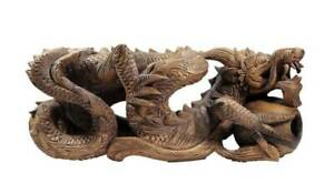 Fierce Asian Chinese Dragon Sculpture W Ball Under Foot Hand Carved Solid Wood