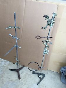 Vintage Pr Of Tall Scientific Lab Stands Clamps Holders Etc