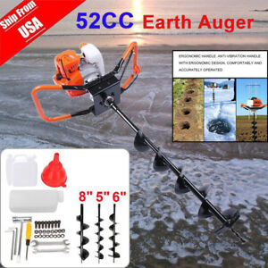 52cc Gas Powered Earth Auger Power Engine Post Hole Digger Drill Bit Ground Us