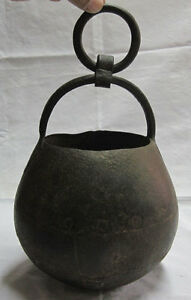 An Old Antique Iron Hindu Ritual Lota Vessel With Handle And Ring
