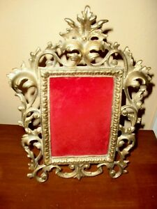 Antique Vintage Victorian Brass Collectable Early Ornate Table Top Picture Frame