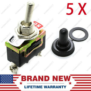 5 X Spst 2pin Heavy Duty 10a On off Rocker Toggle Switch Waterproof Boot Replace
