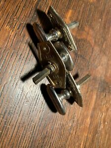 Lot Of 3 Antique Nickel Art Deco Thumb Turns Door Hardware Knob 3 16 Spindle