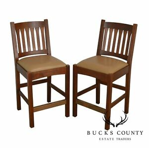 Stickley Mission Collection Pair Cherry Slat Back Bar Counter Stools